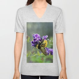 Bee in Purple Duranta Art Photography, Summer's End Unisex V-Neck