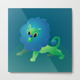 Cute Green Baby Cartoon Lion Metal Print
