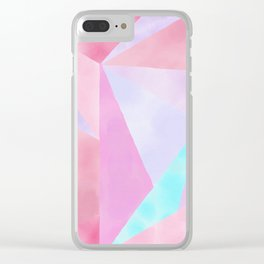 Geometrical Pink Lilac Teal Watercolor Hand Painted Pattern Clear iPhone Case