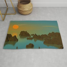 Sun Setting POV RAY Traving CGI 8000x6000 Pixels 32 Bit Color Palette Rug