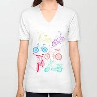 bikes V-neck T-shirts featuring Bikes by WEAREYAWN