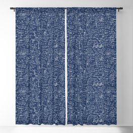 Physics Equations // Navy Blackout Curtain