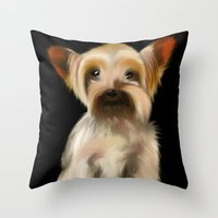 yorkie Throw Pillows featuring Yorkie on Black by barefoot art online