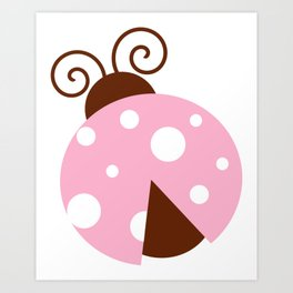 Ladybug, Ladybird, Lady Beetle - Pink Brown White Art Print