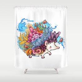 Sea Splash Tropical Coral Reef Hedgehog Shower Curtain
