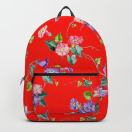 morning glories on red Backpack