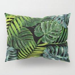 Jungle Tangle Green On Black Pillow Sham