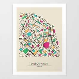 Colorful City Maps: Buenos Aires, Argentina Art Print