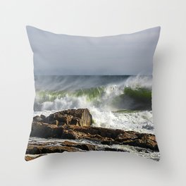 Big wave on the Backshore Throw Pillow