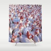 turkey Shower Curtains featuring Turkey Farm  by BravuraMedia