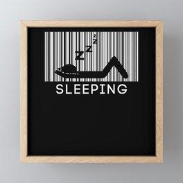 Sleeping Barcode Sleep Shirt Late Riser Framed Mini Art Print