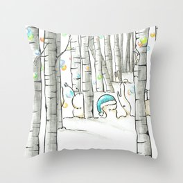 Cubabas in Winter Throw Pillow