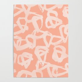 Sweet Life Triangle Dots Peach Coral Pink Poster