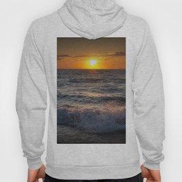 Lake Michigan Sunset with Crashing Shore Waves Hoody