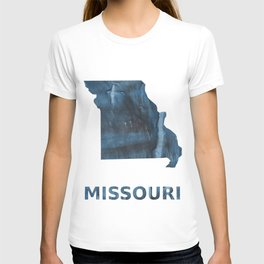 Missouri map outline Dark Gray Blue clouded watercolor pattern T-shirt