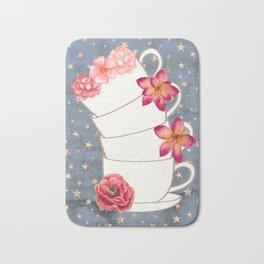 Floral Coffee Cups Bath Mat