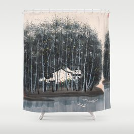 Wu Guanzhong 'Village in the Woods' - 吴冠中 树林村 Shower Curtain