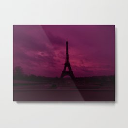 Dramatic Pink Hued Sky Eiffel Tower Paris France Metal Print