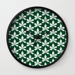 Modern distressed leaves pattern. Dark green and white design. Wall Clock