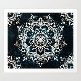 Glowing Spirit Mandala Blue White Art Print