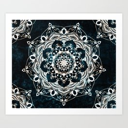 Glowing Spirit Mandala Blue White Art Print
