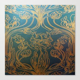 Art Nouveau,teal and gold Canvas Print