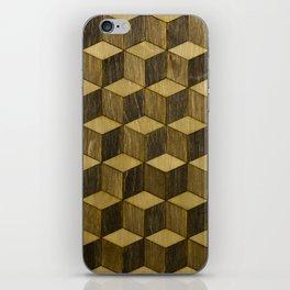 Optical wood cubes iPhone Skin