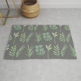 Bouquet of branches and leaves pattern,  Dark Gray background Rug
