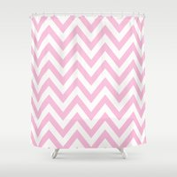 tina crespo Shower Curtains featuring TINA CHEVRON 3 by JUNE blossom