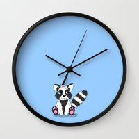 racoon Wall Clocks featuring Racoon by BlackBlizzard