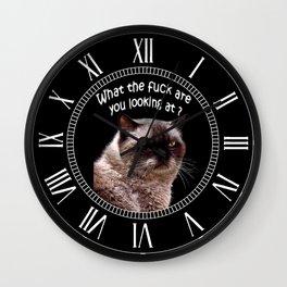 Angry cat,grumpy, bad day, Wall Clock