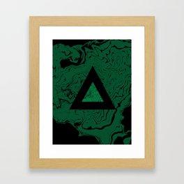 Spilled ink suminagashi malachite green marble stone watercolor marbling triangle minimalism Framed Art Print