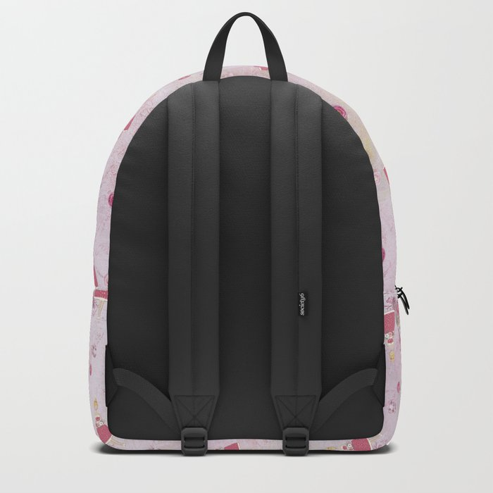 Pink Valentine Eiffeltower Girl and rose flower pattern Backpack