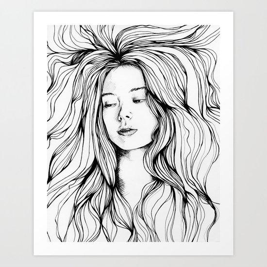 girls in the hair 2 Art Print