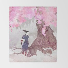 Tengami - Winter Cherry Tree (Portrait) Throw Blanket