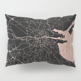 Black on Rosegold Dublin Street Map Pillow Sham