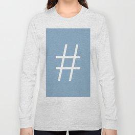 number sign on placid blue color background Long Sleeve T-shirt