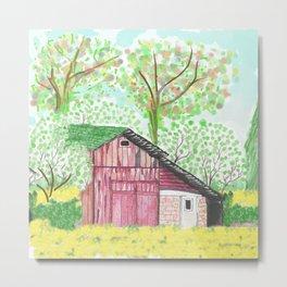 watercolor red barn Metal Print