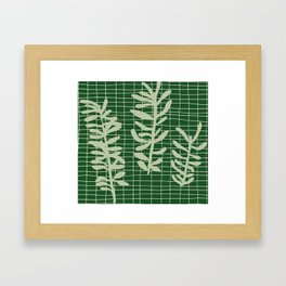 green grid leaf sprig pattern Framed Art Print