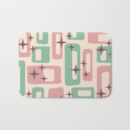 Retro Mid Century Modern Abstract Pattern 222 Dusty Rose and Pastel Green Bath Mat