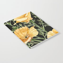California Poppies on Charcoal Black Notebook