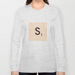 Scrabble Letter S - Large Scrabble Tiles Long Sleeve T-shirt