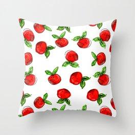Watercolor tangerine white #homedecor #spring #fruit #watercolor Throw Pillow