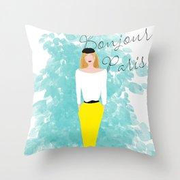 Bonjour Paris Throw Pillow