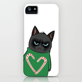 Black Cat in Christmas Sweater 04 iPhone Case