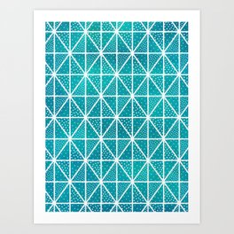 Teal Triangle Dots Pattern Art Print