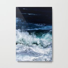 Dark Blue Waves Metal Print