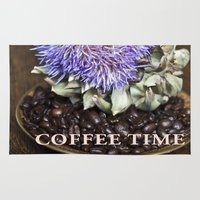 coffe Area & Throw Rugs featuring Coffe Beans and Blue Flower of Artichoke by CAPTAINSILVA