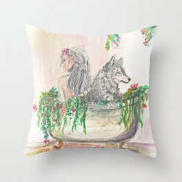 Long baths Throw Pillow