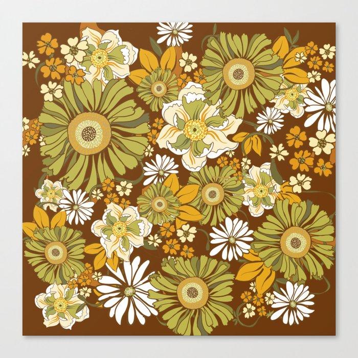 70s Retro Flower Power boho pattern Leinwanddruck